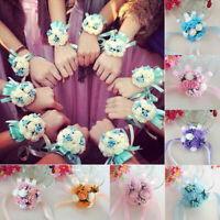 Bridesmaid Wrist Corsage Bracelet Sisters Hand Flower Wedding Party Bouquet Well