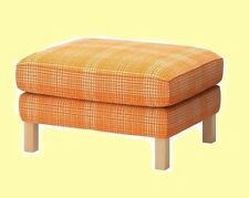 IKEA Karlstad NEW Footstool Husie ORANGE Off White Ottoman Cover Plaid Check NIP