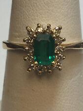 Ladies emerald cut Emerald and Diamond 14K Gold Ring
