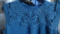 NWT Jessica Simpson Womens Teal Lace Shirt Top Blouse Size Small Pretty Gorgeous