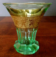 MOSER Fine 1900's Green Cut Glass Beaker-Vase? w-Gold Warrior Frieze Rare, Nice