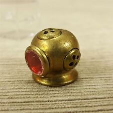 "Brass Miniature 3/4"" Divers Helmet Mask Vintage Diving Gear w/ Red Face Window"