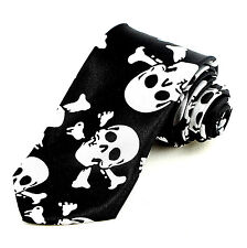 Mouthless Skull Men's Necktie Halloween Skeleton Narrow Skinny Black Neck Tie