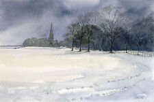 Wentworth Church GREETINGS CARD Steve Greaves Watercolour Snow Winter Scene Art