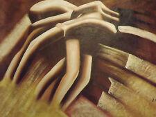 Grande Peinture À L'huile Corps Abstraits Érotiques Couleur Marron Contemporaine