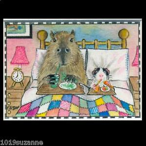 Guinea Pig & Capybara ACEO art print from original painting by Suzanne Le Good