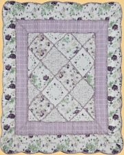 "Quilt Throw Purple Floral Leaves Cotton Lap Blanket Overall Rose Print 50"" x 60"""