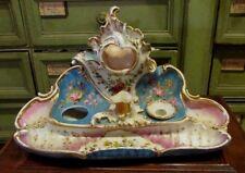 ancien grand encrier plumier XIXe porte montre porcelaine de paris peinte