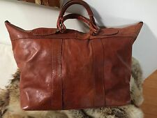 Giorgio Sermoneta vintage cognac leather duffel bag, luggage, weekend bag, tote