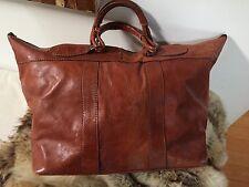 Giorgio Sermoneta vintage cognac leather duffel bag, luggage, weekend bag, tote