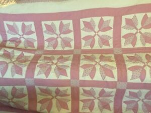 Handmade Flower Pattern Quilt With Triangle Edging 4 Point Star Framed