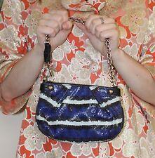 Purple/Blue Black Gray Snakeskin Evening Shoulder Bag By Henri Bendel Silver