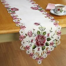 Deluxe Pink Rose Table Runner Doily 72 x 13 Embroidered Machine Wash NEW