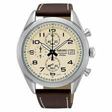 Seiko Chronograph Quartz Cream Dial Leather Stitched Strap Mens Watch SSB273P1