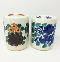 Pair of Vintage Hand Painted Polish Pottery Canisters Round Kitchen