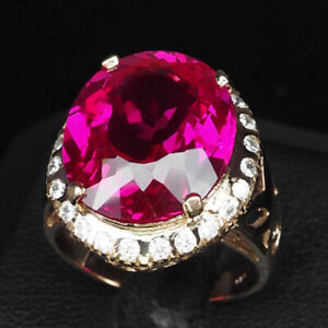 TOPAZ PINK OVAL 15.70 CT. SAPPHIRE 925 STERLING SILVER ROSE GOLD RING SZ 6.75