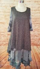 Krista Pearl Putty Sequine Tunic Tank Top O/S One Size Resort Les Romantic