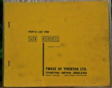 TWOSE 190 DIGGER PARTS LIST AUGUST 1975
