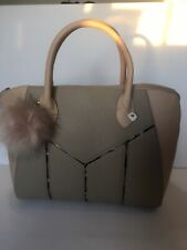 Nude Office Bag With Pom Keyring Trendy