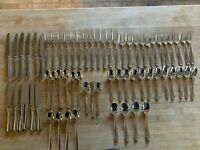 Summerset Wallace Stainless Flatware 18/10 Plain Back 65 Pieces VG