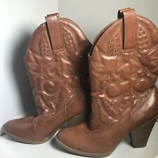 Brown Stitched Western Mid Calf Cowboy Boots Woman's Sz 8 1/2 Mossimo Supply Co