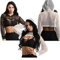 Women Mesh Fishnet Hollow Out Crop Top Long Sleeve Hoodie Pullover Blouse TShirt