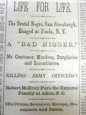 "1878 newspaper w BAD CRIMINAL NI--ER ""N-word"" headlines & long detailed report"