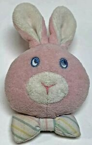 Vintage Eden Wrist Rattle Bunny Rabbit Pink Striped Bow Tie Plush Terry Cloth