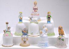 (8) Vintage Porcelain Bisque Hand Bells: Ladies Children Animals Cmi Boston