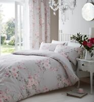 Catherine Lansfield Canterbury Reversible Grey Floral Duvet Cover Bedding Set