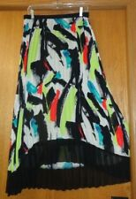 Woman's sz S - Black/Multi-colored SKIRT - NY Collection - Permanent PLEATS