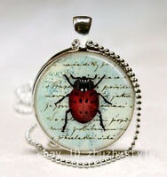 Vintage Ladybug Cabochon Glass Necklace Pendant with Ball Chain Necklace #3*