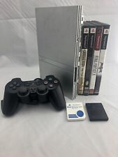 Sony PlayStation PS2 Slim Console Silver SCPH-79001 w/ 4 Games & 2 Memory Cards