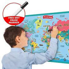 Handy Essentials Kids Educational World Map Wall Decal 24x36 Christmas Gift UK