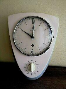 Vintage Junghans Ceramic Kitchen Clock with Timer 1950s. Rare!!!