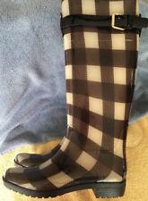 Ralph Lauren Women's Size 6B Rossalyn Brown Checkered High Rain Boots New