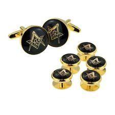 Black & Gold Enamelled Masonic Cufflinks with G & 5 Button Stud Set X2Aj319A