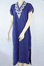 Blue Gold Costume Robe Dress Handmade Med M Medium Embroidered Halloween Dance