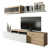 Mueble de comedor salón moderno modulo color Blanco Brillo Roble Canadian, Nexus