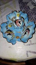 Lot joli plat torsadè creux + petit vase en relief barbotine cerdazur monaco
