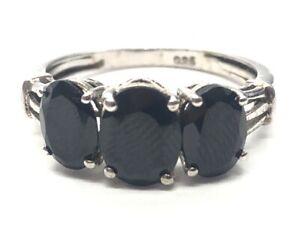 Vintage Sterling Silver Ring 925 Size 7 Black Stone Dark 3