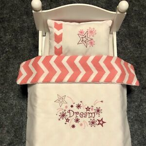 3 pc. Set Doll Bedding White Pink Embroidery Dream Stars Fits American Girl