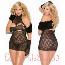Open Breast Bust Sexy Lace Mini Dress Black See Thru Stretch Clubwear Queen Size