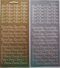 2 sheets of Son / Daughter / Grand Peel-offs  Gold and Silver