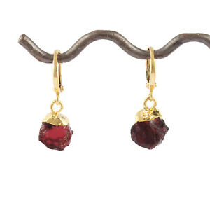Natural Rough Garnet Yellow Gold Plated January Birthstone Clip-On Earring