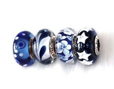 PRE- 4  Pandora silver Murano Midnight Dark Blue Glass Look Beads Charm #5