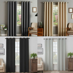 Curtains Blackout Black Out Eyelet Ring 1pc Fully Lined Energy Saving