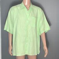Alan Flusser Mens Neon Green Linen Casual Shirt L