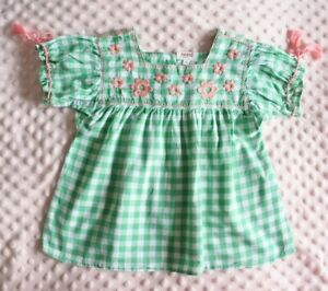 SEED Sz 3-4 green check embroidered top EUC