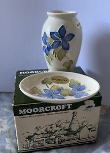 Vase And Trinkets Moorcroft Set In Original Box